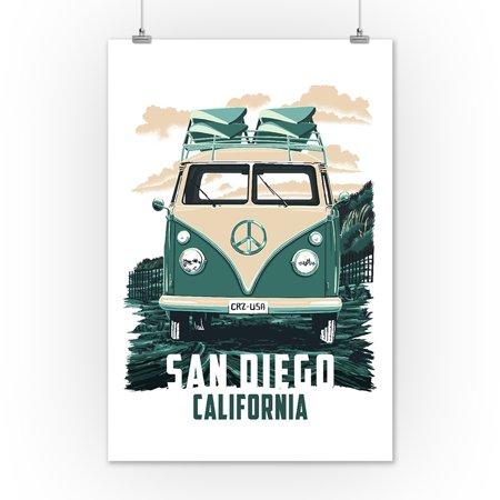 Vw San Diego >> San Diego California Vw Van Lantern Press Artwork 12x18 Art Print Wall Decor Travel Poster