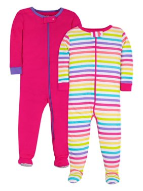 Little Star Organic Baby & Toddler Girl Brights 1-Piece Snug Fit Stretchie Footed Pajamas, 2-Pack