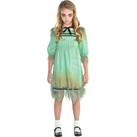 Creepy Child Costume (Suit Yourself Creepy Girl Costume for Girls, Tattered Dress Features Dirt Smears and a Peter Pan)