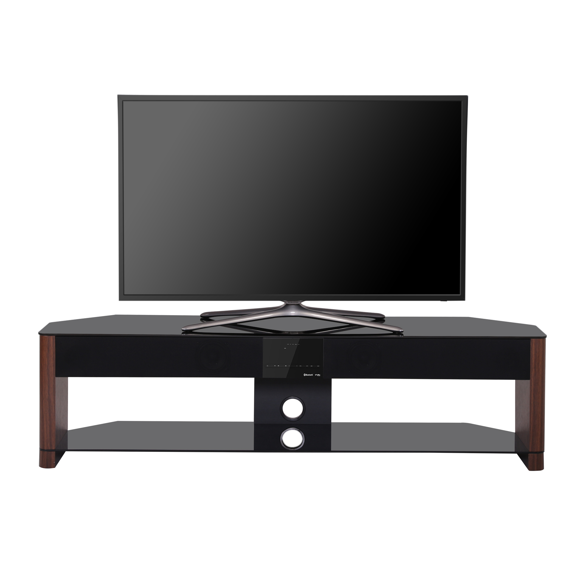 Fitueyes 2 Tier Wood Tv Stand With Sound Bar Bluetooth Speakers