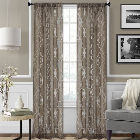 Elrene Home Fashions Montego Geometric Sheer Rod Pocket Single Curtain Panel