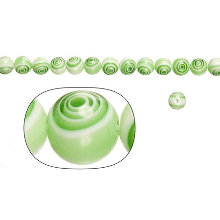 Glass Beads, Cream White Base With Green Stripes, 8mm Round. Sold per pkg of 36cm String