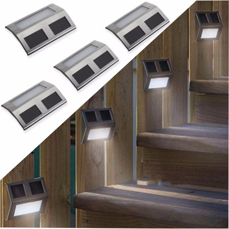 4pcs Stainless Steel Waterproof Garden 2 LED Security Solar Lights Panel Outdoor Wall Light for Home Path Porch Patio Deck Driveway Stairs Back Door Lamp Stainless Steel Solar Wall
