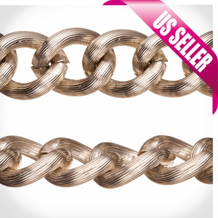 Aluminum Chain, Rhodium-Finished, Silk Stripe Textured Links, 5.5mm Wire 21x17.5mm Sold per pkg of 5Ft Stripe Chain Link