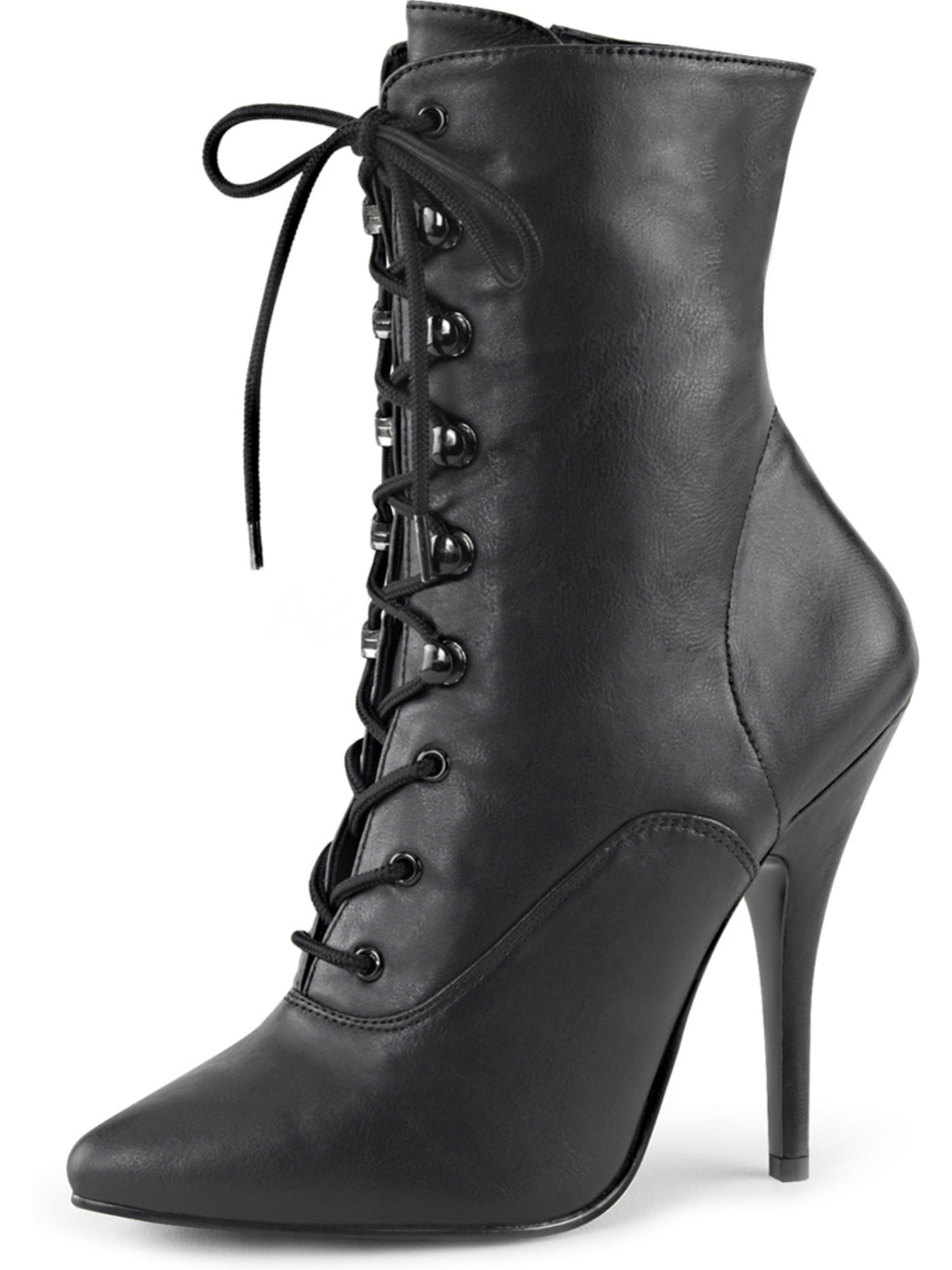 Womens Lace Up Bootie Black Ankle Boots Pointed Toe Side Zipper 5 Inch Heels