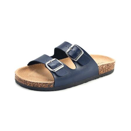 Summer Flip Flop Sandals - Navy Blue Flat Sandals Shoes for Women, NEW Slide Buckle T-Strap Cork Footbed Platform Flip Flop Sandals Shoes for Summer / Fall