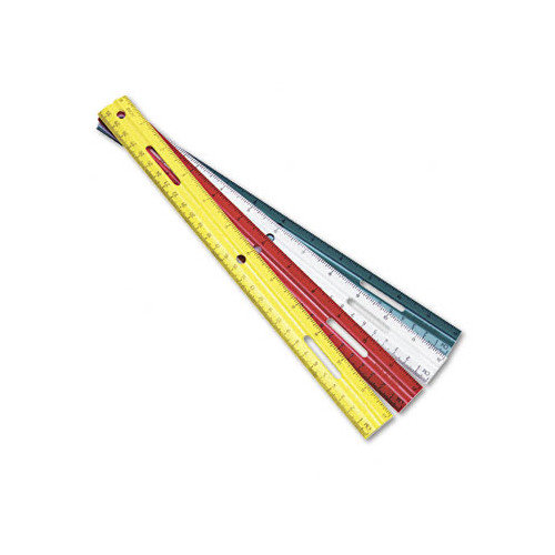 Charles Leonard Co. Ring Binder Hole Plastic Ruler, 12'', Assorted Green/Red/White/Yellow                                                          (Set of 6)