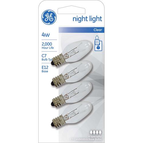 GE 4 watt Clear Incandescent C7 Night Light, 4 Pack