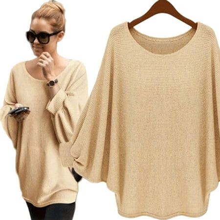 Nlife Women One Size Batwing Knitted Thin Pullover Sweater Tops