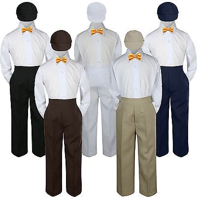 4pc Yellow Bow Tie Party Suit Pants Set Formal Baby Boy Toddler Kid S-7