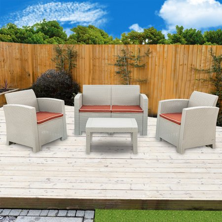 Stupendous Weather Outdoor Patio Garden Furniture Sofa Set With 2Pcs Single Sofa Love Seat And Coffee Table Gray White Creativecarmelina Interior Chair Design Creativecarmelinacom