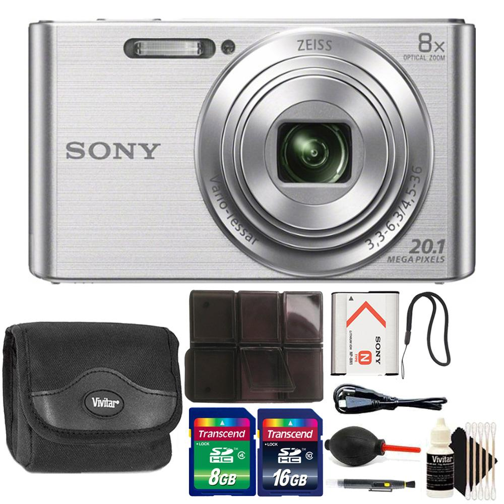 Sony DSC-W830 20.1MP Point and Shoot Digital Camera (Silver) with Accessory Kit