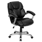 Flash Furniture Mid-Back Black LeatherSoft Layered Upholstered Executive Swivel Ergonomic Office Chair with Silver Nylon Base and Arms