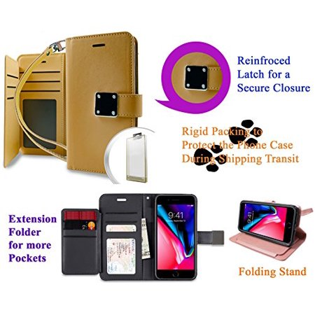 """for 5.5"""" iPhone 8 + PLUS case iPhone 7 +PLUS Case Phone Case Hybrid Folder Wallet Extra Pocket Stand Pouch Purse Screen Flip Cover Gold"""