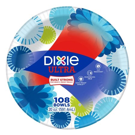 Product of Dixie Ultra 20-Oz. Paper Bowls, 108 ct. - Flower Power/White Flower Fantasy Leaf Bowl