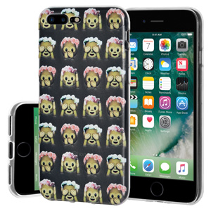 iPhone 7 Plus Case, Soft Gel Clear Emoji TPU Back Case Impact Defender Skin Cover iPhone 7 Plus - See Speak Hear No Evil Monkeys