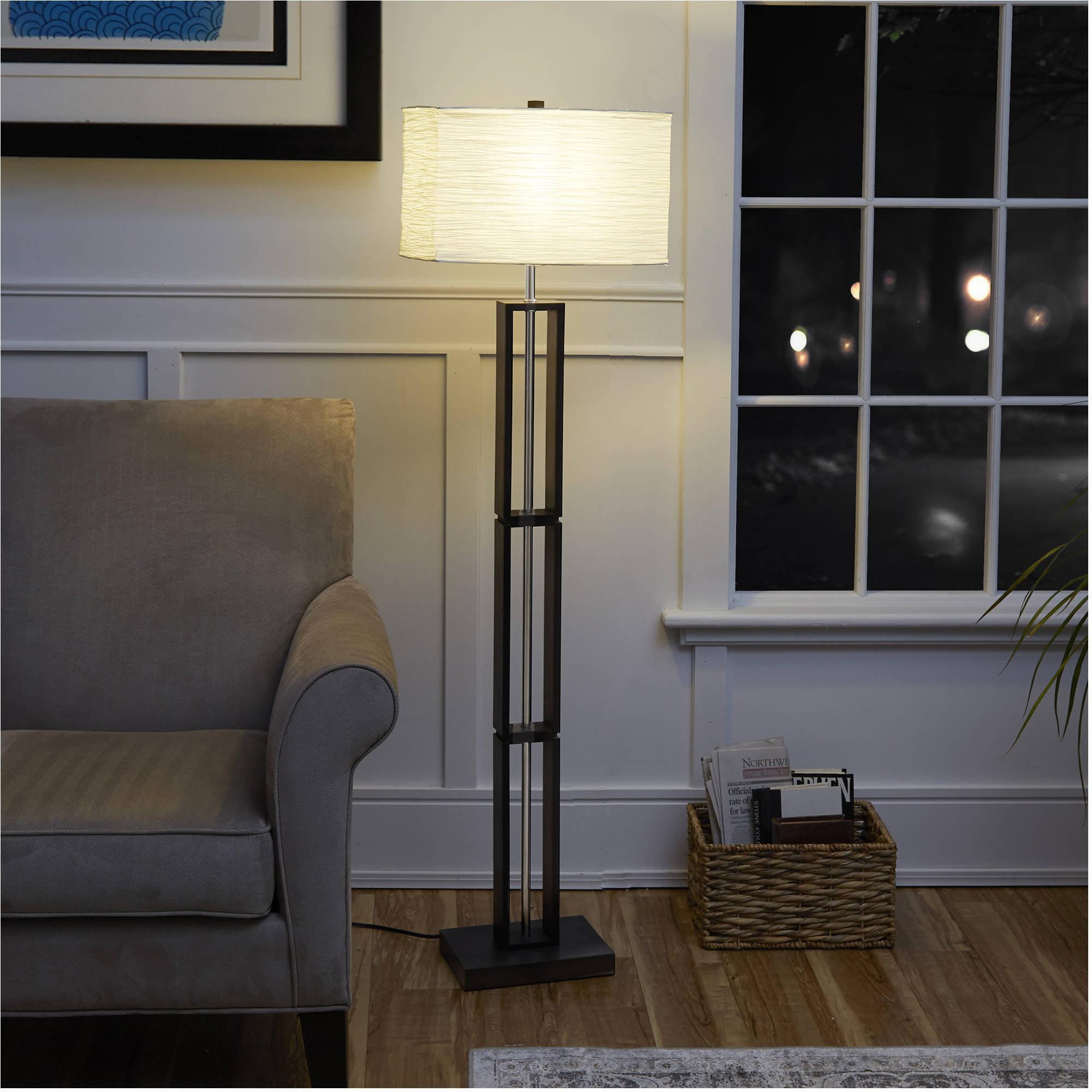 Modern Paper Floor Lamp: Mainstays Dark Wood Floor Lamp With Rice Paper Shade, 58