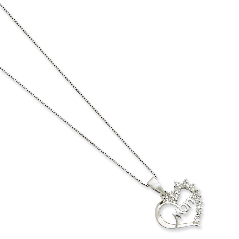 Sterling Silver Rhodium-Plated 16in Diamond Mom Necklace. Carat Wt- 0.03ct