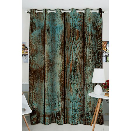 GCKG Wood Printed Window Curtain,Vintage Rustic Old Barn Wood Printed Grommet Blackout Curtain Room Darkening Curtains For Bedroom And Kitchen Size 52(W)x84(H) inches (Two Piece) - image 4 de 4