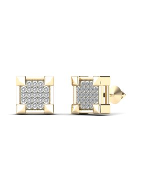 aaXia Men's 14K Yellow Gold 1/8ct TDW Diamond Square Stud Earrings
