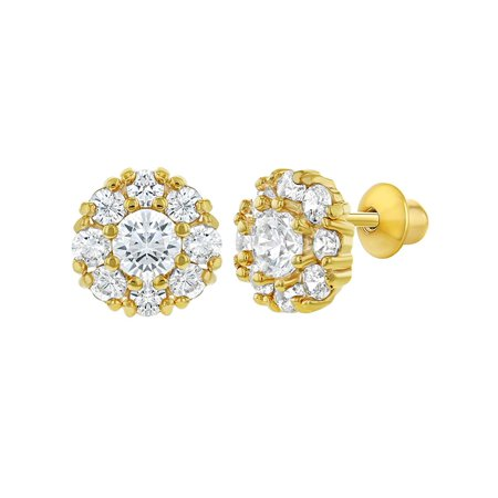 18k Gold Plated Clear Back Kids Baby Earrings Flower 6mm