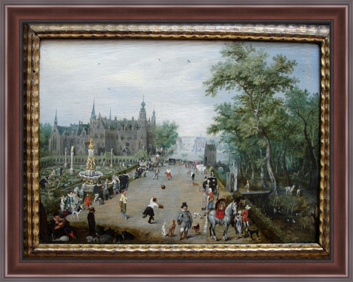 A Game of Handball with Country Palace in Background 36x28 Large Walnut Ornate Wood Framed Canvas Art by... by FrameToWall