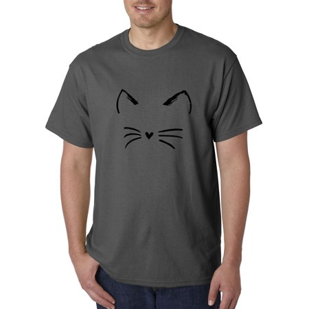 New Way 1128 - Unisex T-Shirt Cat Whiskers Silhouette Heart Nose 4XL Charcoal (Cat Nose And Whiskers For Halloween)