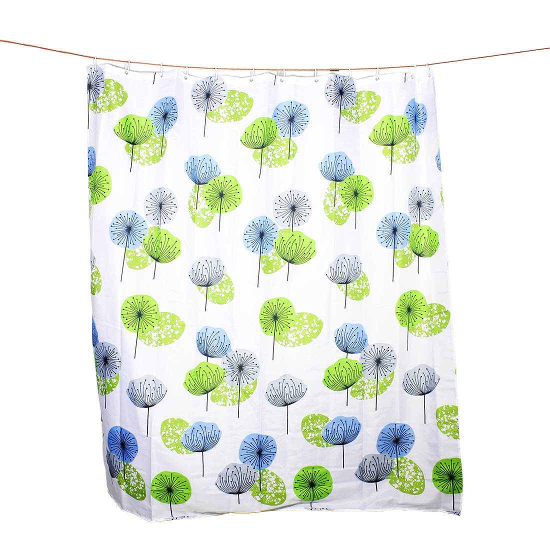 Dandelion Pattern Water Repellent Bath Shower Curtain w 12 White Hooks 180x200cm