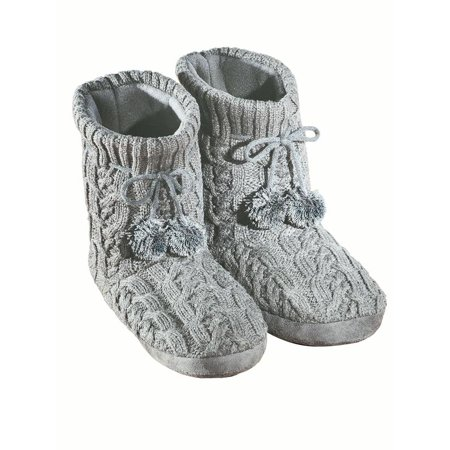 Women's Cable Knit Bootie Slippers Womens Grey X-large, X-Large, Grey