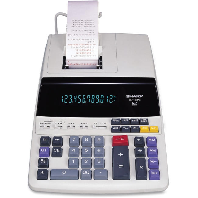 Sharp EL1197PIII Heavy-Duty Display Calculator - Dual Color Print - 4.3 lps - Calendar, Clock, Item Count, Double Zero -