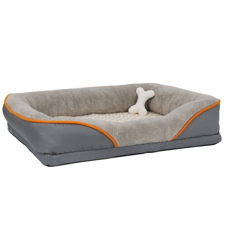 Rectangle Washable Memory Foam Dog Bed Pet Bolster with Removable Cover, Bone Squeaker Toy Suede Bone Bed Cover