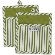 """Cotton Gourmet Stripe Pot Holders with Pocket, 9 x 8"""" Set of 2, Machine Washable and Heat Resistant Pocket Mitts for Cooking and Baking-Parsley Green"""