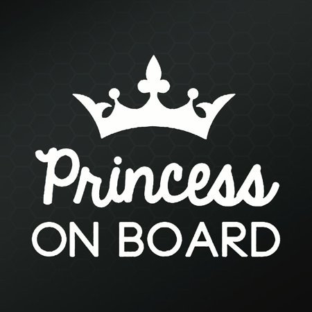 Princess on Board Decal Vinyl Sticker| Cars Trucks Vans Walls| White | 6 in| KCD509