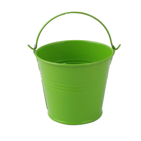 Unique Bargains Home Metal Bucket Shaped Flower Plant Planter Holder Decor Green for Christmas ()