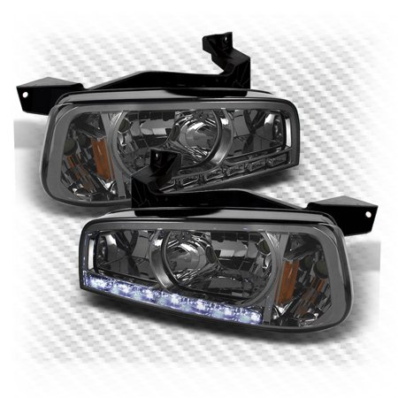 For Smoked 2006-2010 Dodge Charger 1PC LED Headlights Headlights Lamp Smoke  Pair Left+Right/2007 2008 2009