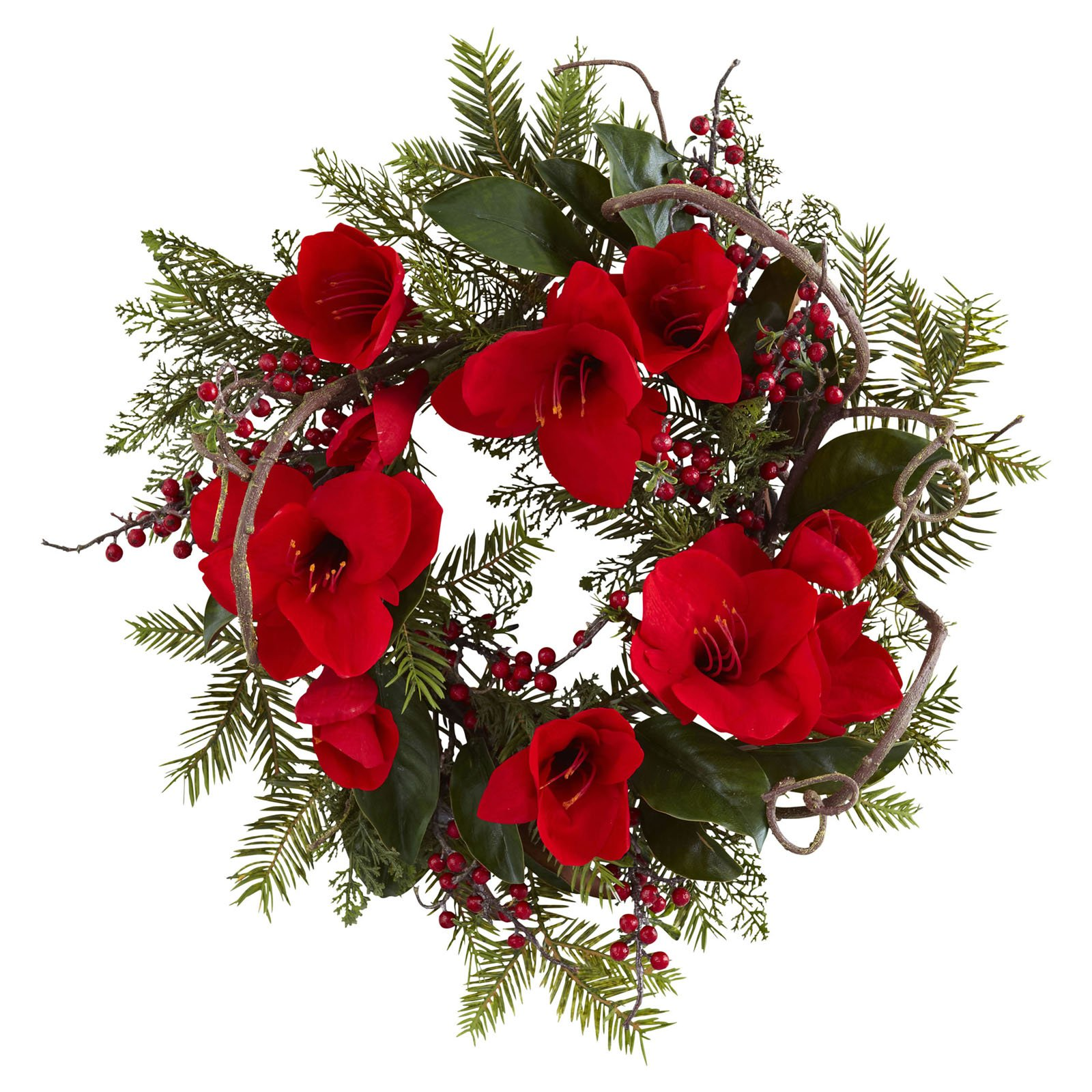 "Nearly Natural 24"" Amaryllis Wreath"