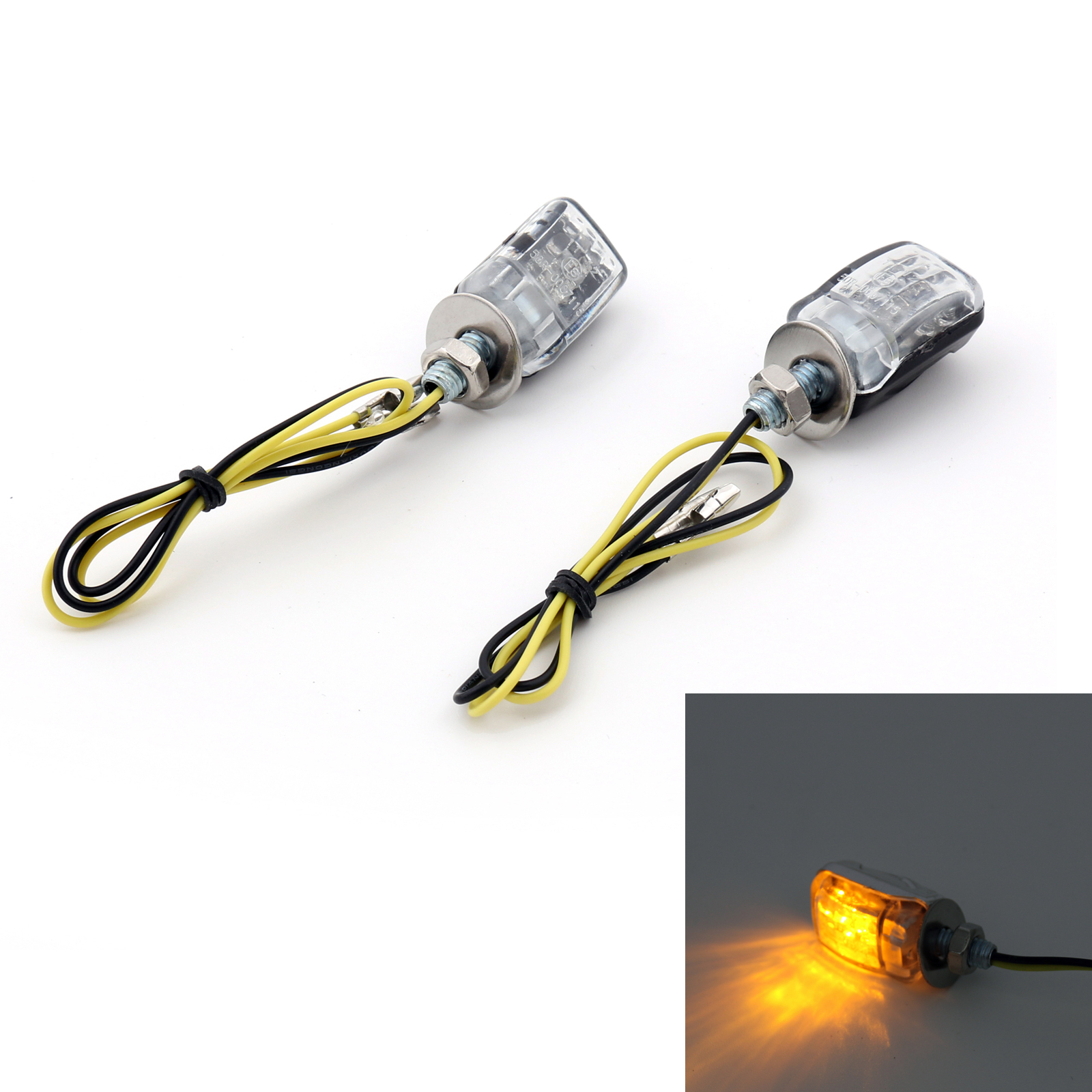 Areyourshop LED Black Micro Mini Tiny Small Indicators Turn Signals Motorcycle MotorBike