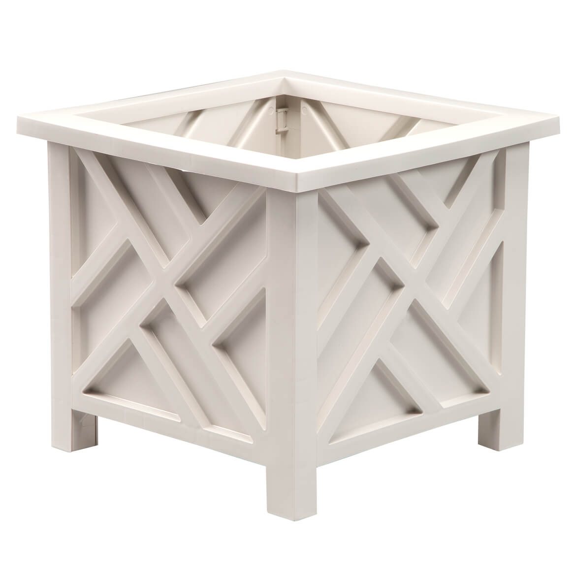 """Chippendale Planter Box, White – Plant Holder for Garden, Patio and Lawn – 14 ¾"""" sq. x 13 ¼ H Overall"""