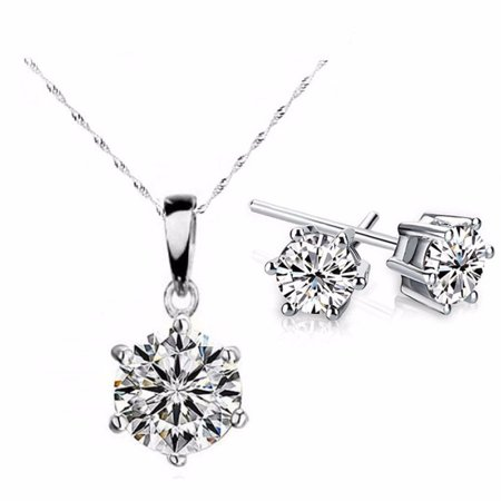 CLEARANCE - Splendid Solitaires Round IOBI Crystals 2CT Necklace and 1CT Earrings Set 18K White Gold