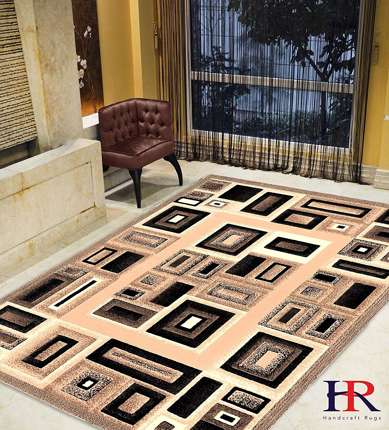 Modern Contemporary Abstract Rug- Frame/Boxy/Cube Pattern-Shed Free Beige/Ivory/Chocolate