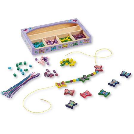 Melissa & Doug Butterfly Wooden Bead Set With 150+ Beads and Cords for Jewelry-Making