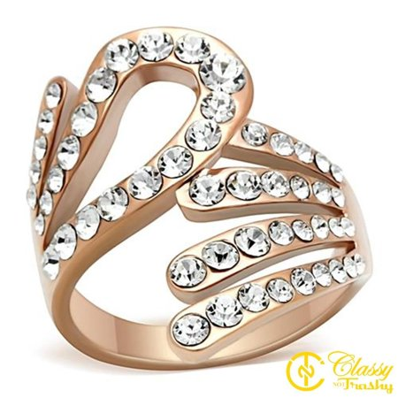 Classy Not Trashy® Size 7 IP Rose Gold PVD Plated Bypass Clear Crystal Women