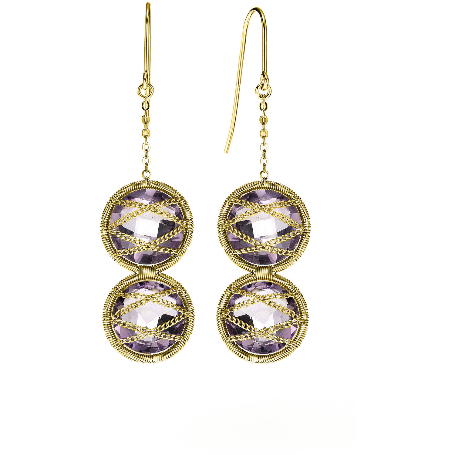 Image of 5th & Main 18kt Gold over Sterling Silver Hand-Wrapped Double Amethyst Stone Earrings