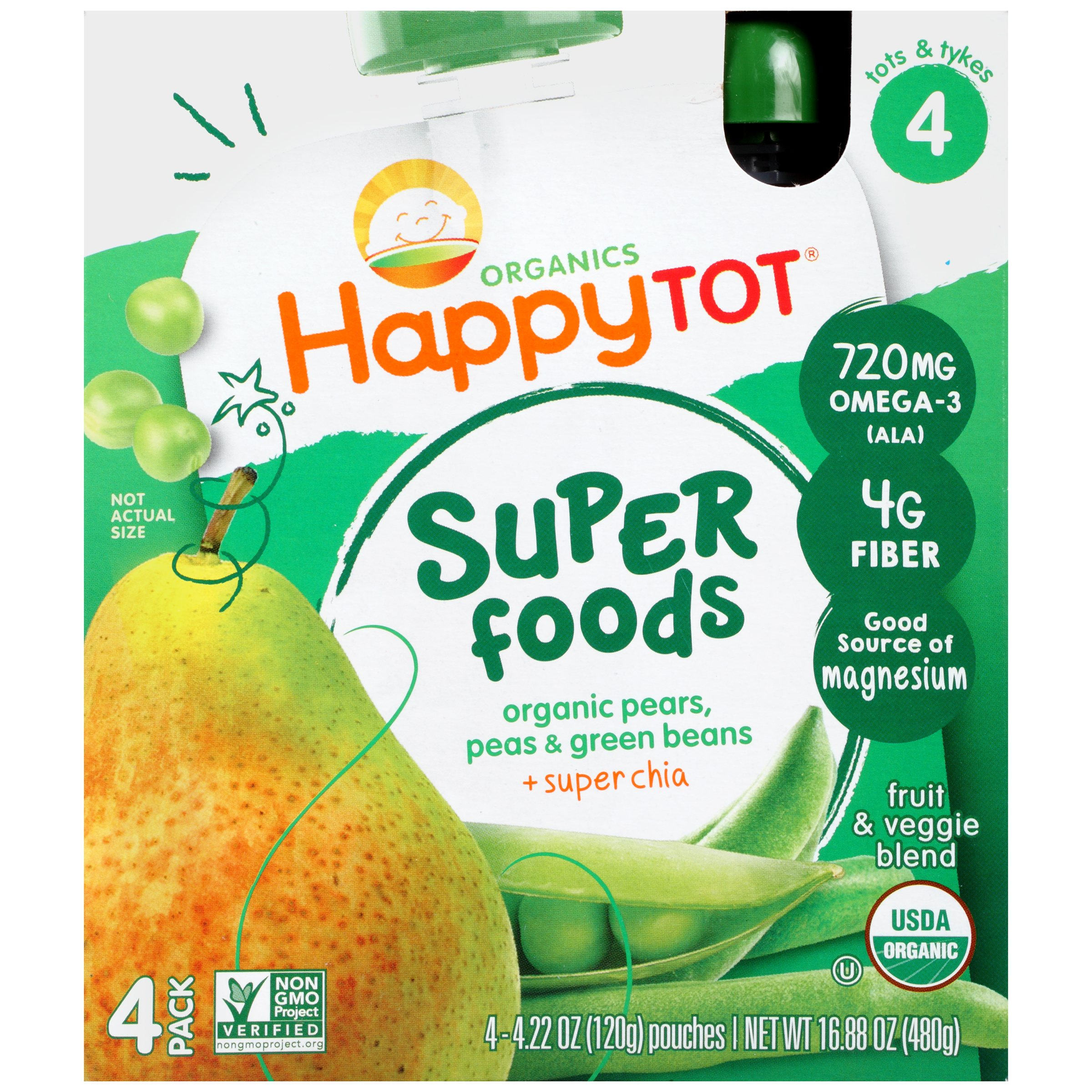 Happy Tots Organic Superfood Green Beans, Pear & Pea
