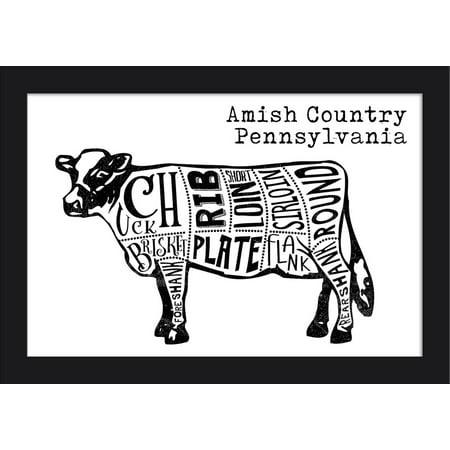 - Amish Country, Pennsylvania - Butchers Block Meat Cuts - Black Cow on White - Lantern Press Artwork (18x12 Giclee Art Print, Gallery Framed, Black Wood)