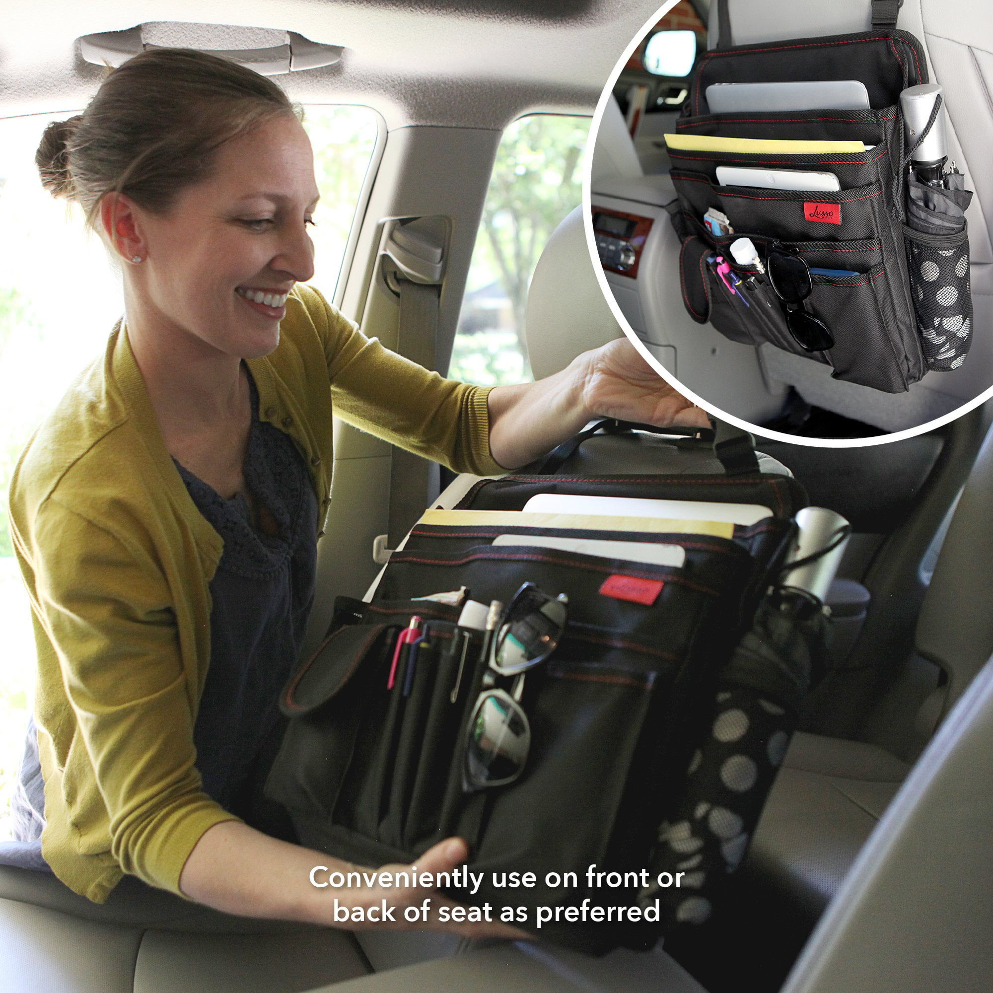 Lusso Gear Car Front Seat Organizer Fits Any Car Truck Storage