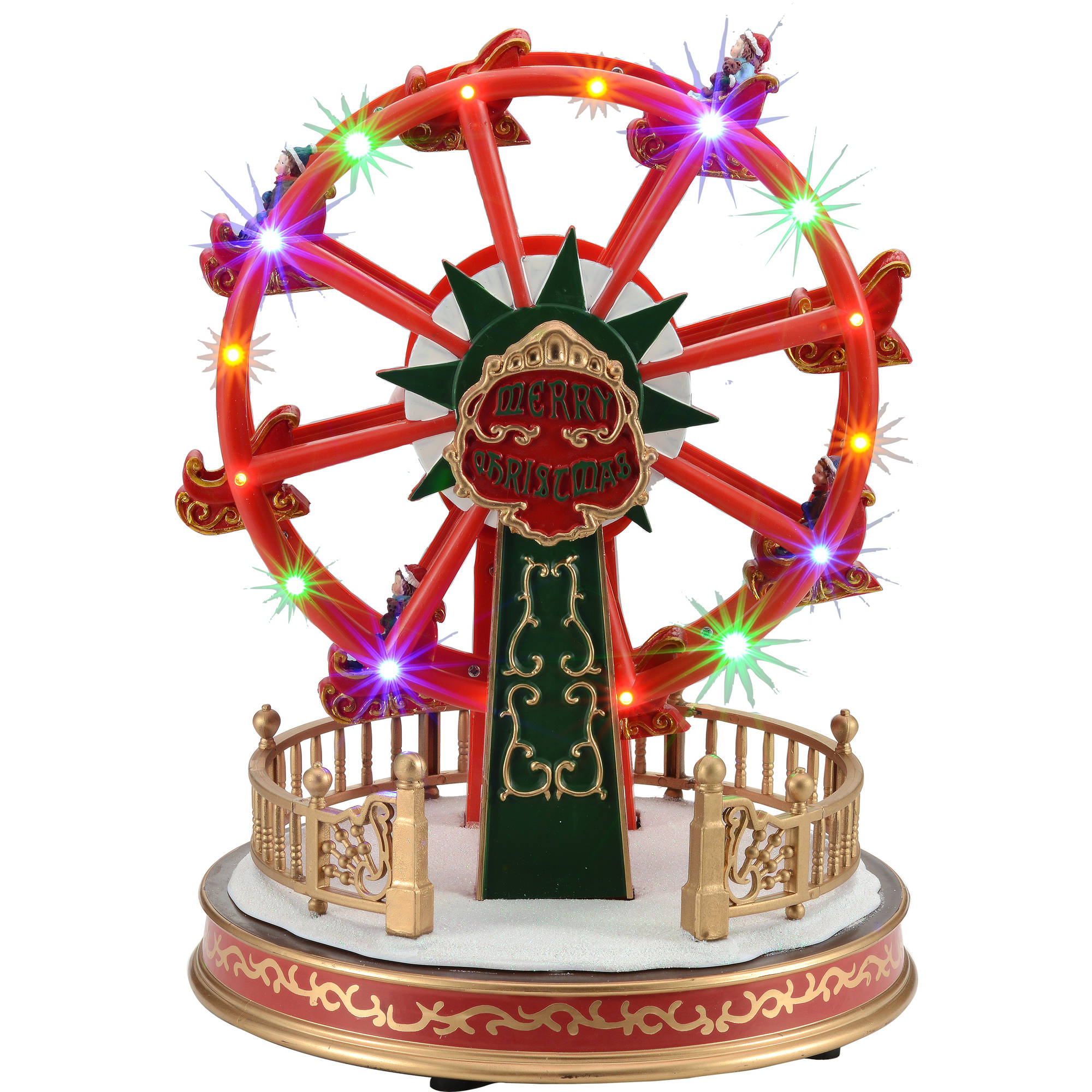 "Holiday Time 11.4"" Battery-Operated Holiday Ferris Wheel Christmas Village"