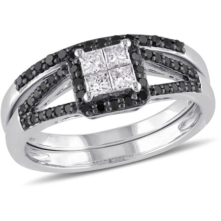 3/5 Carat T.W. Princess-Cut White Diamond and Round-Cut Black Diamond 10kt White Gold Halo Bridal Set
