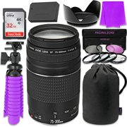 Canon EF 75-300mm f 4-5.6 III Zoom Lens Bundle with SanDisk 32GB Memory Card, LP-E12 Replacement Bat