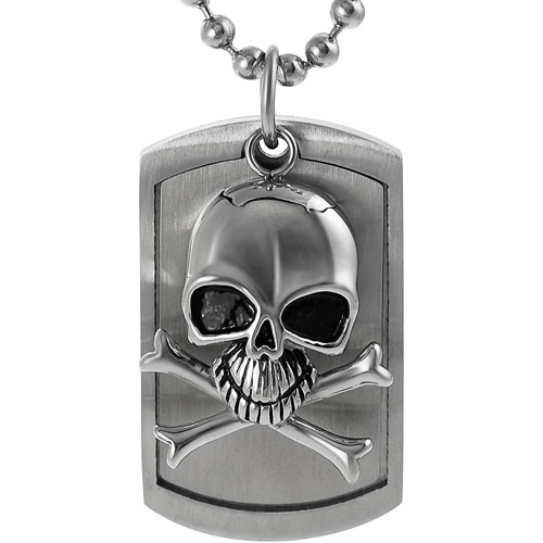 Daxx Men's Stainless Steel Moveable Skull Tag Pendant, 20""